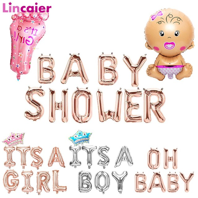 Lincaier Baby Shower 16 inch 34cm Gold Foil Balloons Its a Boy Girl Babyshower Decorations Party Supplies Gender Reveal