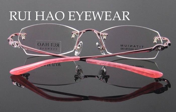 fb52ecdafb Titanium Eyeglasses Frame Fashion Eyeglasses Women Rimless Glasses ...