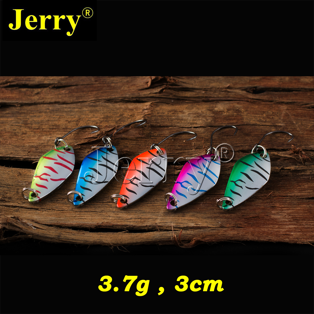 Jerry 5pcs 3.7g freshwater artificial bait perch metal lures spinner high quality lightweight fishing spoons microbial quality of freshwater prawn