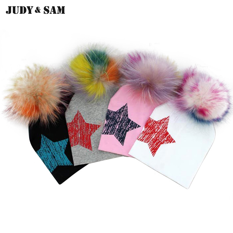 2017 Casual 100% Cotton Star Design Top Spring Hat For Baby 6 Months-2 Years Girls Boys Unsiex Caps With Raccoon Fur Pompom new star spring cotton baby hat for 6 months 2 years with fluffy raccoon fox fur pom poms touca kids caps for boys and girls