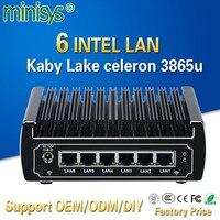 Minisys UTM firewall router appliance Intel kabylake celeron 3865u dual core pfsense mini pc 6 Lan barebone fanless VPN computer