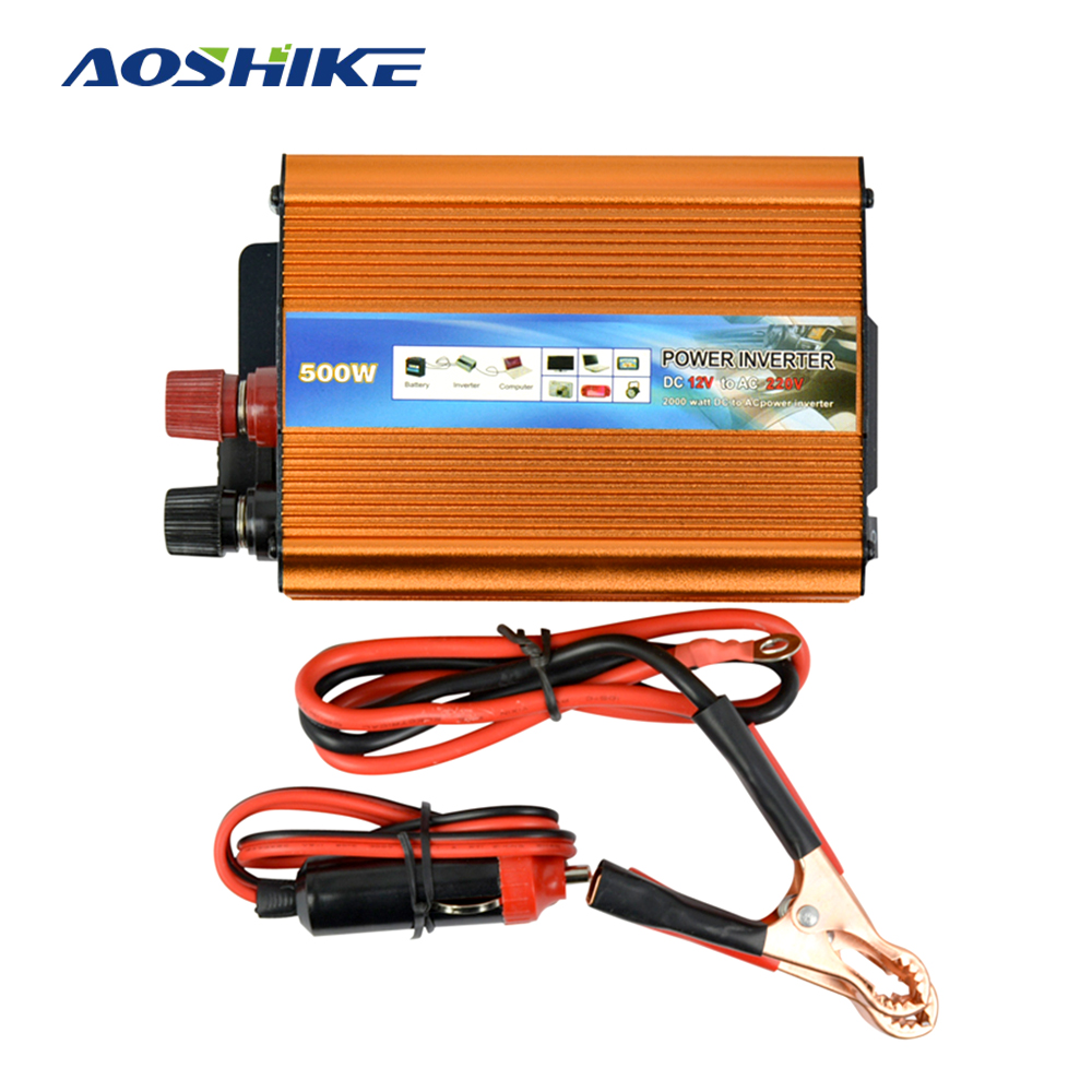 цена на Aoshike 500W Car Inverter DC 12V to AC 220V Modified Sine Wave Automobile Power Inverter with USB Charger CE Certification
