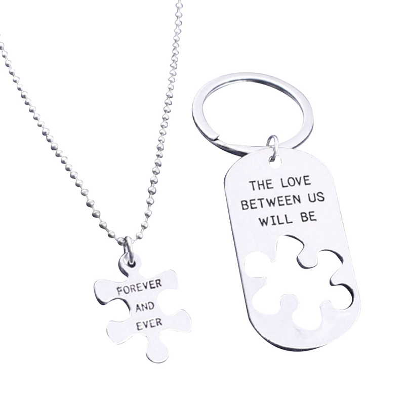 2pcs THE LOVE BETWEEN US WILL BE FOREVER AND EVER Letters Carving Pendant Necklaces Special Nice Gift Lovers Couples Jewelry