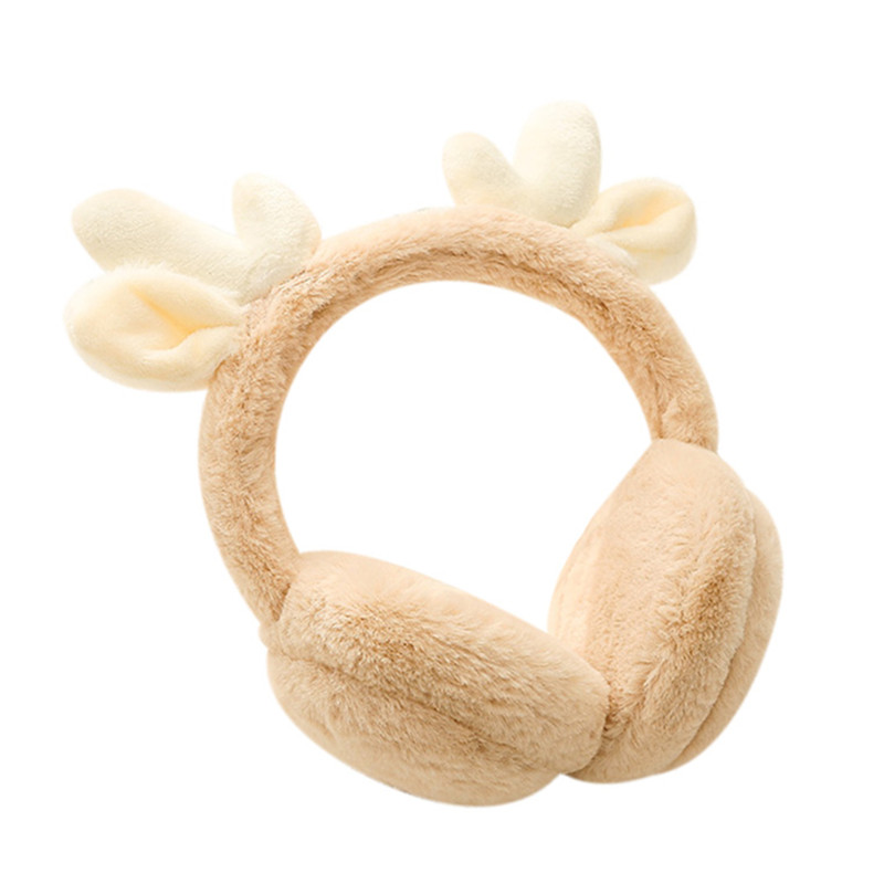 Adjustable Cartoon Antler Winter Ear Warm Earmuffs Children Plush Fur Ear Muff Ear Cover Cute Christmas Gift For Girls Boys