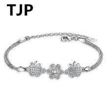 TJP New Fashion 925 Sterling Silver Women Jewelry Crystal Apple Flower Shaped Bracelets Accessory  Girl Bangle Gift