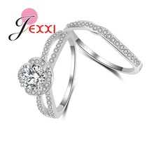 JEXXI New Trendy 2PCS Rings Set Vintage 925 Sterling Silver with Austrian Crystal Paved Women Girl's Party Jewelry Accessory