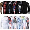 Sportswear compressão Mens Crossfit Aptidão Apertado Pele Camisas Mangas Longas Impressões 3D Marca Masculino Respirável Tops & T-shirt