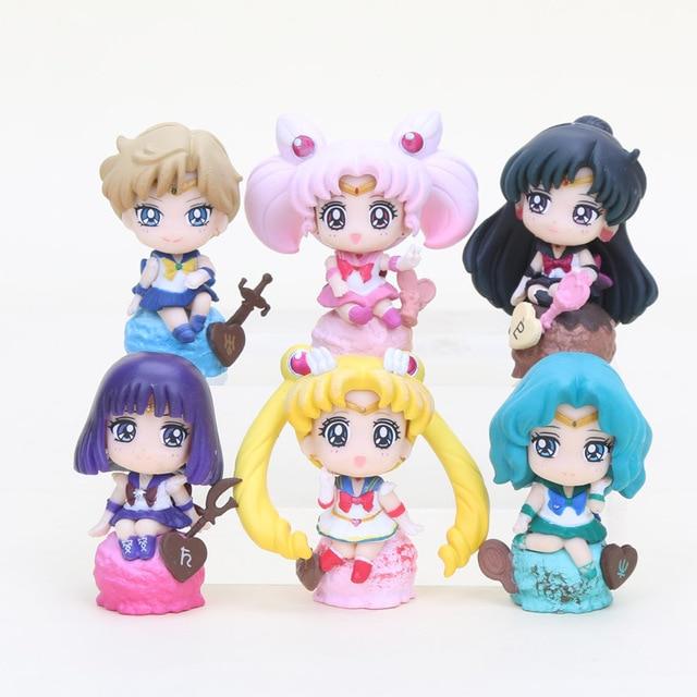 6pcs/set Sailor Moon Tsukino Usagi Tuxedo Mask Mercury Mars Jupiter Venus ice cream cake Ver. PVC Action figure toys set удочка зимняя swd ice action 55 см