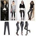 Shiny Metallic High Waist Black Stretchy Leather Leggings Plus One Size