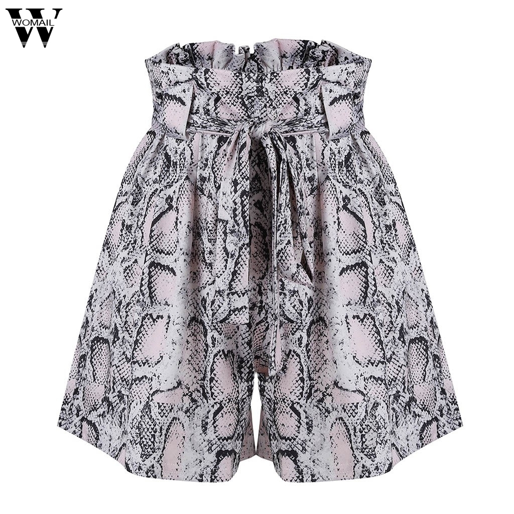 Women shorts 1pc  Women Casual Summer Short   Fashion lacing Sexy Snake Print Mid Waist Short Loose  Shorts 2020 May24