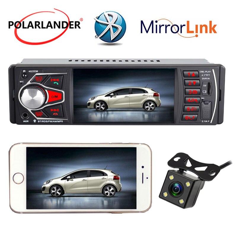 Autoradio radio cassette lecteur miroir lien FM TF USB SD lumières colorées MP5 Bluetooth 4.0 HD 4.1 pouces Audio Autoradio 1 DIN