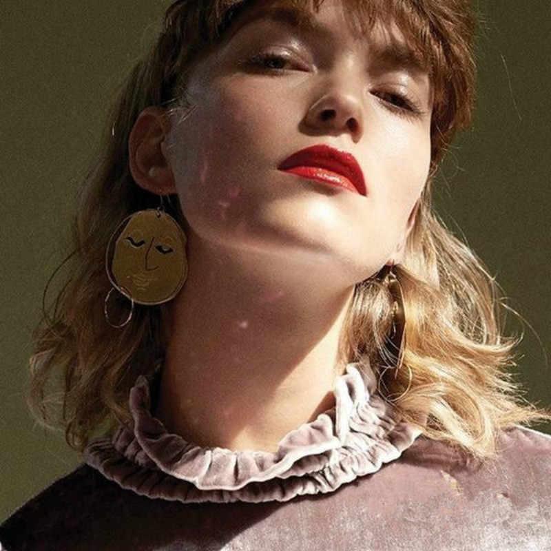 Модные сплав золотого цвета абстрактные человеческое лицо серьги-висюльки Макси массивные серьги для женщин Bijoux 2018