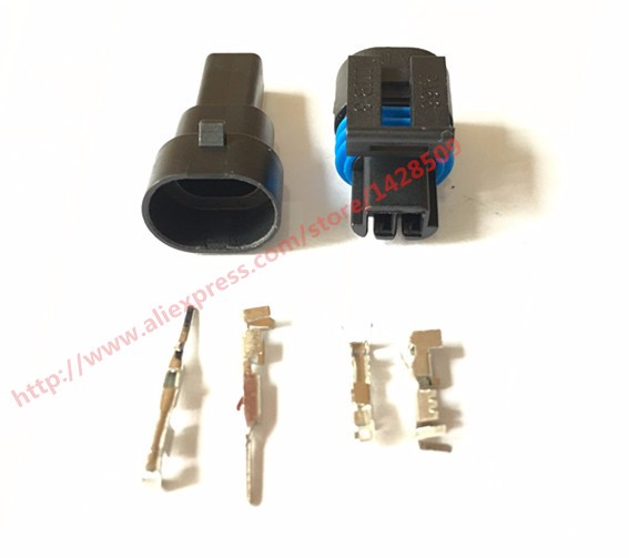 US $9 99 |10 Set Delphi GM 2 Pin Female And Male Auto Sensor Connector  Automotive Plug Socket 12162195 12162193-in Connectors from Lights &  Lighting