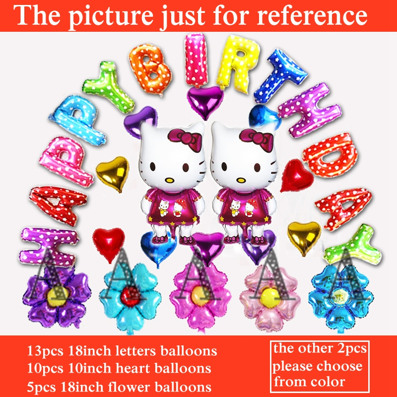 30pcs hello kitty balloon foil material cartoon princess birthday balloons for c