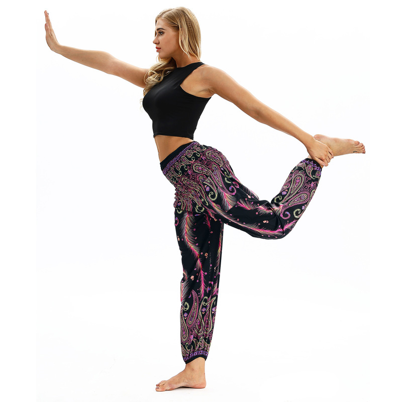 NEW Women Casual Loose Yoga Pants High Waist Out Pocket Bloomers Print Aladdin Harem Pants Baggy Boho Hippie Trouser Breathable in Yoga Pants from Sports Entertainment