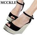 MCCKLE fashion Superior Quality comfortable Bohemian Wedges Women sandals for Lady shoes high platform open toe flip flops Plus