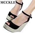 Mcckle moda qualidade superior confortável cunhas boêmio mulheres sandálias para a senhora sapatos de plataforma alta dedo aberto flip flops mais