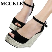 mcckle fashion superior quality comfortable bohemian wedges women sandals for lady shoes high platform open toe flip flops plus