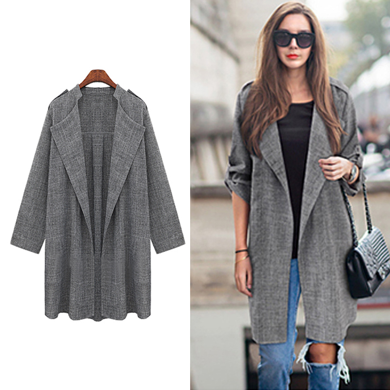 Fashion Waterfall Cardigan Long Overcoat New Open Front   Trench   Coat Womens