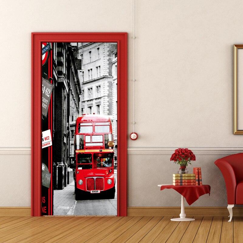 London Double-decker Bus Tourist Landmark Self Adhesive Vinyl Mural Decal Wall Door Sticker