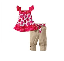 New Girl Cute Clothing Kid Floral Suspender Tops+Shorts Fashion & Casual Children Outerwear Set