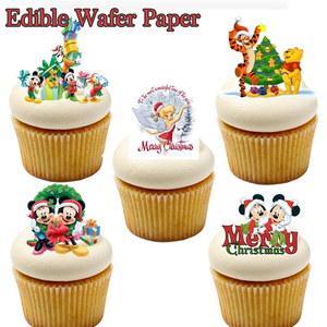Micky And Mine pattern edible wafer paper for cupcake topper decoration,Christmas cake decor party supplier