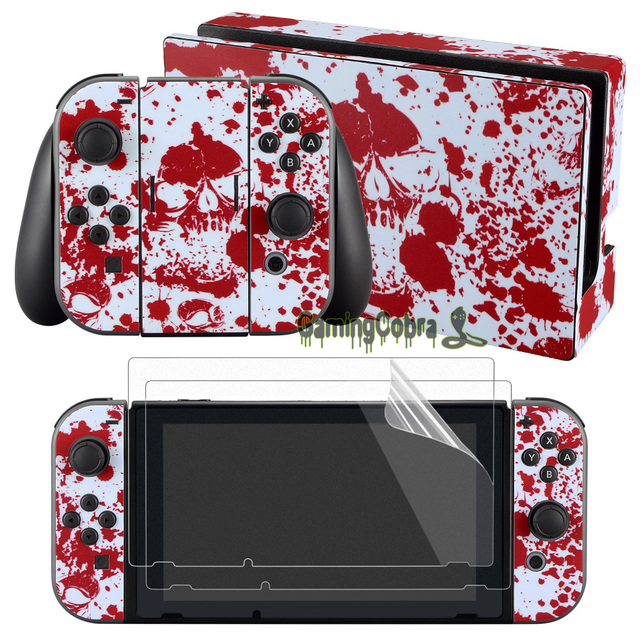 eXtremeRate Red Blood Splatter Skin Sticker Covers 2 Pcs Screen Protectors