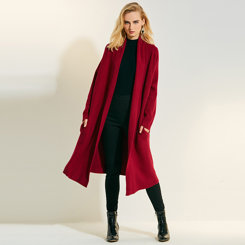 Suéter de punto largo casual tejido cardigan mujer 2018 otoño ajustado rojo tejido de manga larga cachemir solapa verde puntada abierta