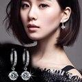 PATICO Circular de Plata Pendientes de Gota de Joyería de Moda Los Modelos Femeninos Salvaje precioso Super Flash Retro Crystal Cuelga El Pendiente