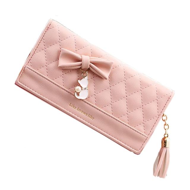 Для женщин кошелек женский кошелек мешок денег Длинные Для женщин кожаный кошелек телефон карты бумажник кисточкой лук милый кот кулон на молнии с надписями модные
