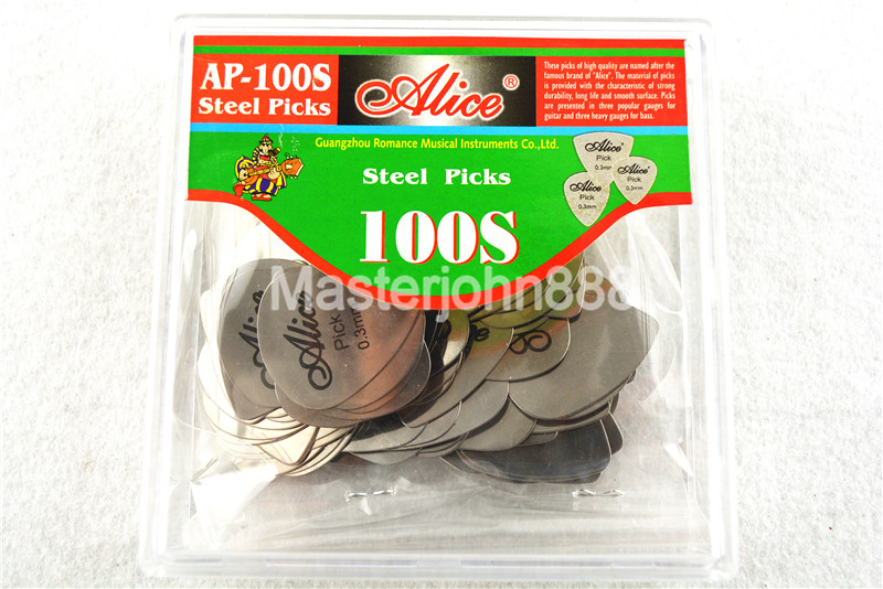 100pcs Alice AP-100S 0.3mm Standard Chrome Metal Stainless Steel Picks Electric Guitar Bass Plectrums