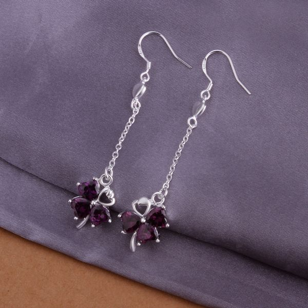 silver plated earrings fashion jewelry earrings beautiful earrings high quality violet clover earrings ky sp