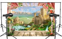 150x220cm Spectacular Mountain River Ancient Architecture Background Beautiful View of the European landscape