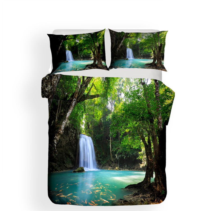 Image 2 - Bedding Set 3D Printed Duvet Cover Bed Set Forest waterfall Home Textiles for Adults Bedclothes with Pillowcase #SL04-in Bedding Sets from Home & Garden