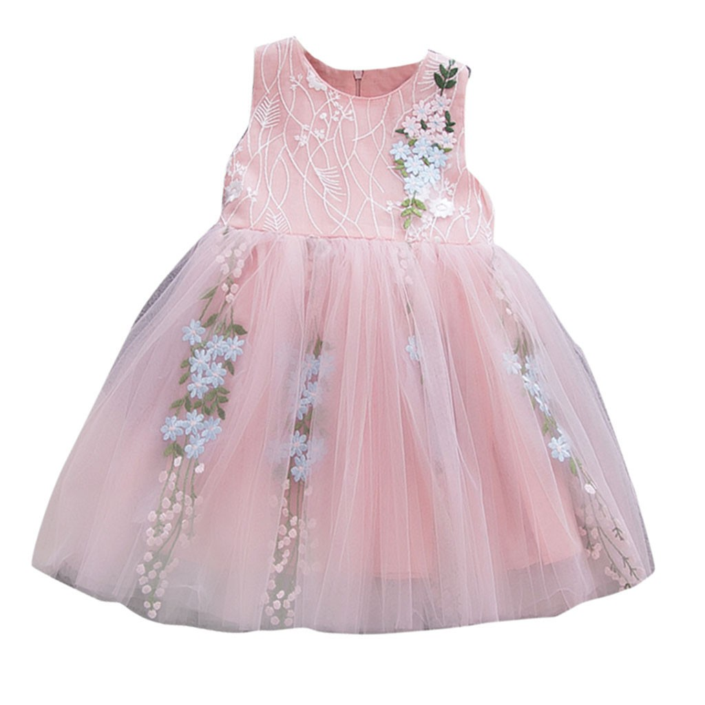 c1deb0301dd2a US $6.41 40% OFF|Solid christening Toddler Dresses Korean version Baby  Girls Sleeveless Tulle Floral Party Princess Dresses Clothes robe  bapteme-in ...