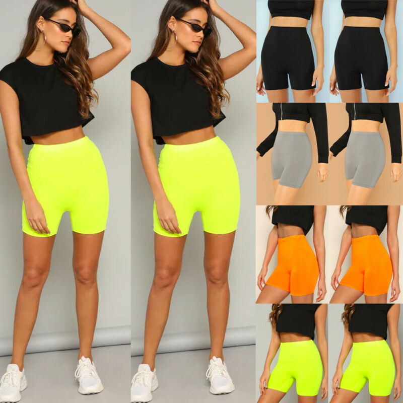 New Women Ladies Fashion Casual Summer Fitness Bike Shorts Soft Solid High Waist Stretch Workout Shorts
