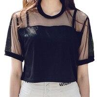 Fashion Mesh Crop Top Women Summer Casual Sexy Female T Shirts 2016 Hot O Neck Short