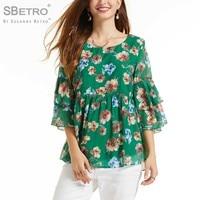 SBetro Women's Printed FloraL Double Ruffle Sleeve Babydoll Tunic Women Ladies Femme XXXL Plus Size