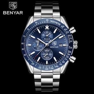 Image 2 - Benyar 2018新メンズビジネス腕時計フルスチールクォーツトップブランドの高級スポーツ防水カジュアル男性腕時計レロジオmasculino