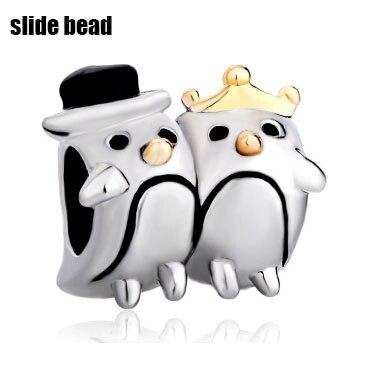 New Silver Plated Penguin Couple Heart Charm Bracelet Love European Bead.Suitable for Pandora charm braceletbeads for