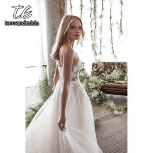 Image 2 - Spaghetti Straps Scoop Wedding Dress Sleeveless 3D Flower Lace Appliques Backless A Line Tulle Illusion Bridal Gown with Train
