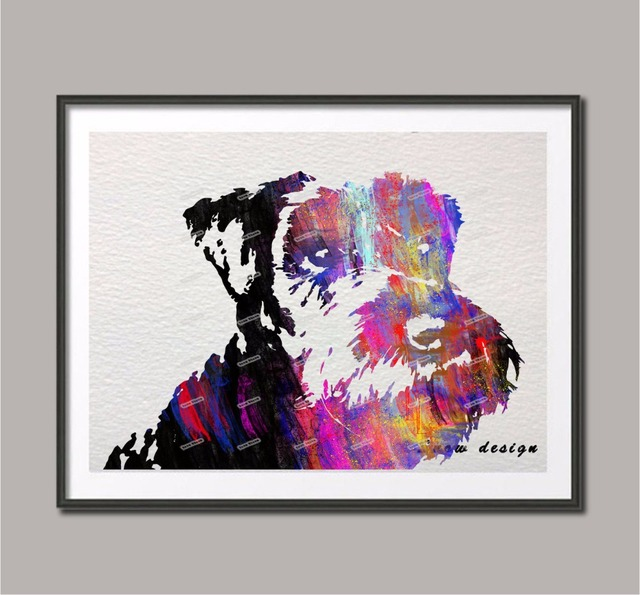 Original Watercolor Miniature Schnauzer Dog Wall Art Poster Print Picture  Canvas Painting Home Decoration Sticker Christmas