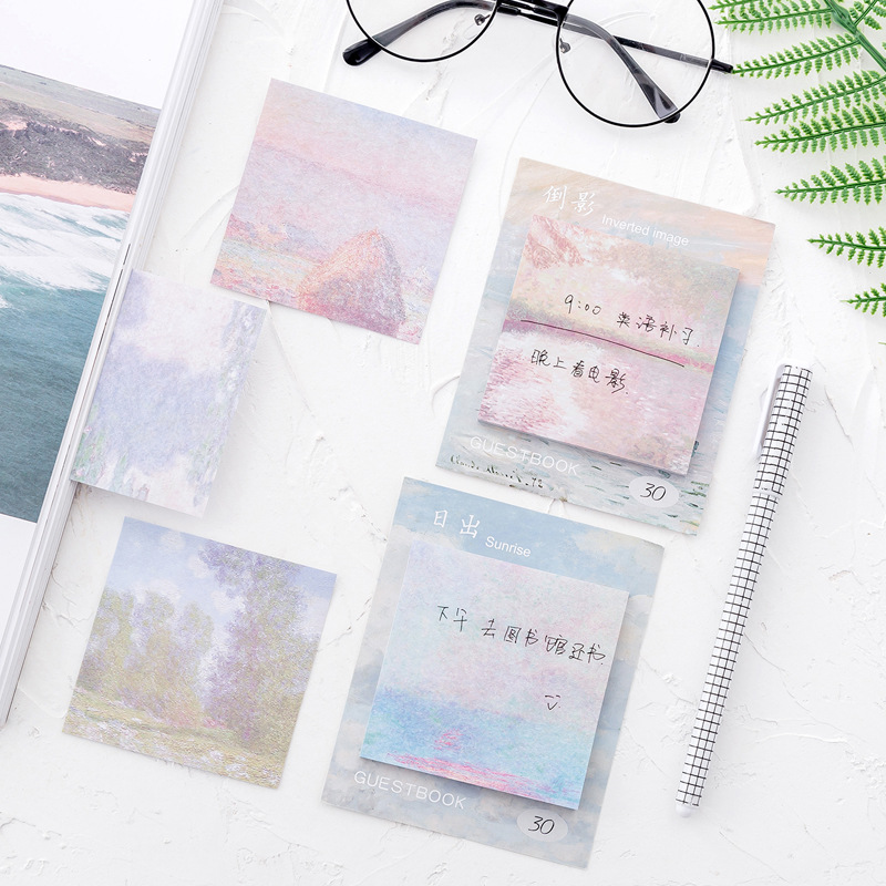 30Pages 2018 Hot Oil Paint style square Memo Pad N Times Guestbook Sticky Notes School Supply Bookmark Post it Label Gift E0674