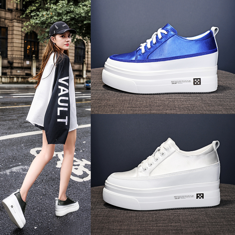 Dumoo New Arrival Autumn Shoes Women Height Increasing Shoes 7cm Casual White Shoes Women Sneakers Satin Leisure Platform Shoes new 2018 fashion sneakers women platform shoes women s sneakers brand height increasing shoes pink black white plus size