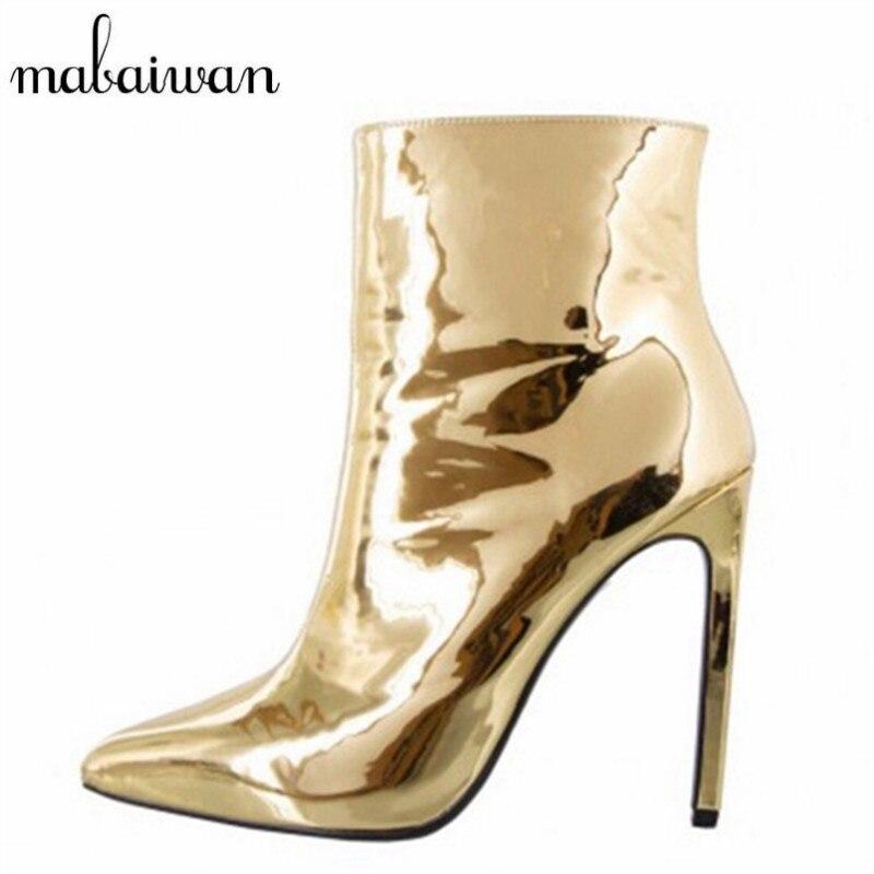 Mabaiwan Gold Mirror Patent Leather Women Ankle Boots Pointed Toe High Heels Women Pumps Metallic Sexy Stiletto Short Botas mabaiwan autumn ladies ankle boots genuine leather iron strange heel bota feminina front zipper botas high heels women pumps
