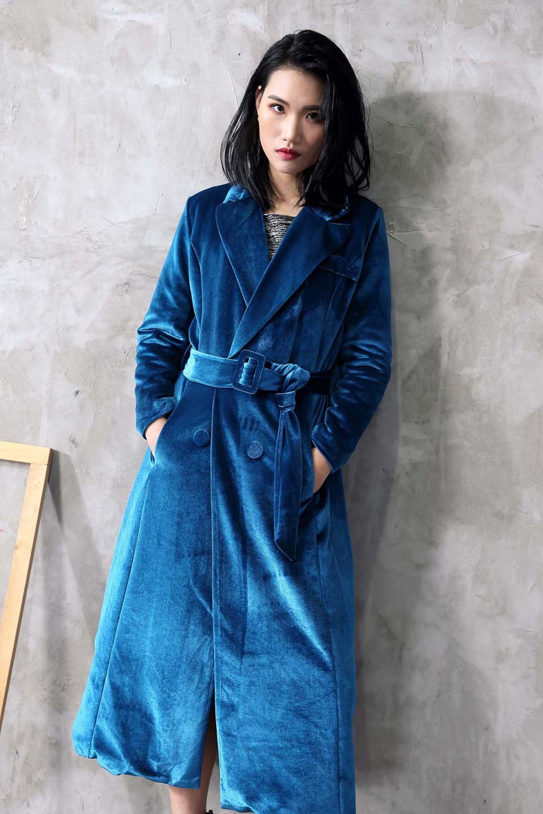 winter coat women 2017 new lapel double breasted belt velvet cotton winter coat women winter