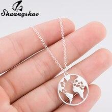 Shuangshuo, collar Vintage de Origami con mapa del mundo, collar geométrico para mujer, collar redondo, collares y colgantes circulares, Gargantilla, joyería