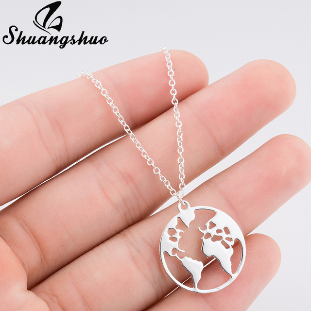 Shuangshuo Vintage Origami World Map Necklace Women Geometric Necklace Round Necklace Circle Necklaces & Pendants Choker Jewelry