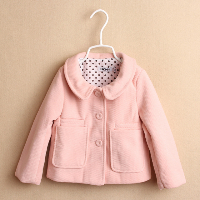 Toddler Girl Autumn Winter Baby Cotton Woolen Coat Single Breasted Button Casual Kid's Solid Outerwear Children Blends 6pcs/LOT