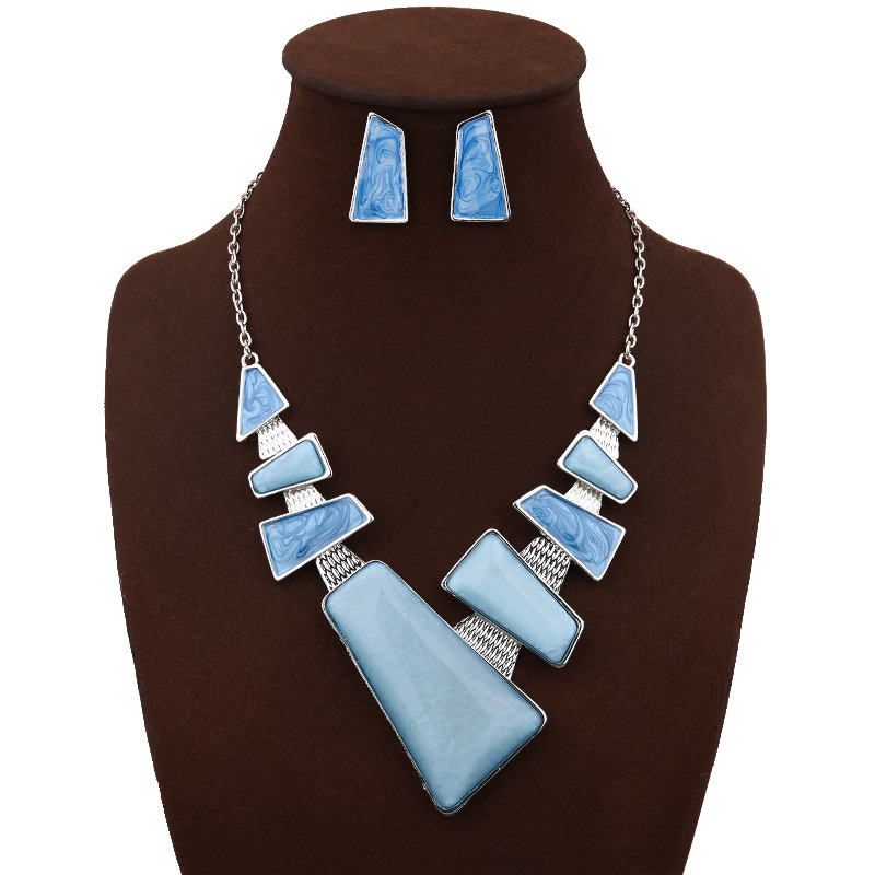 Epoxy Geometric Clavicle Chain Pendant Costom Necklace With Earrings Woman Coustume Jewerly Set Accessories